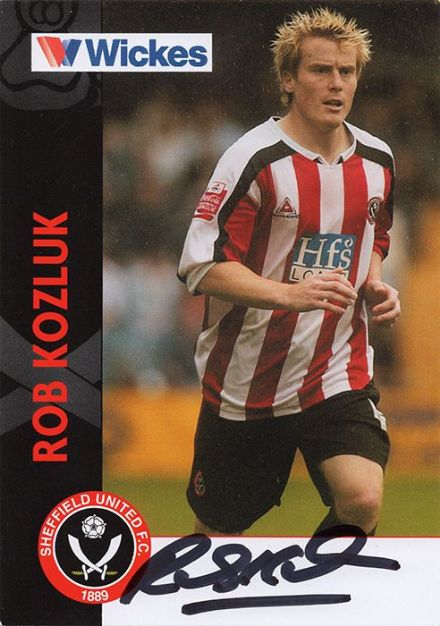 Rob Kozluk, Sheffield Utd, signed 6x4 inch promo card.